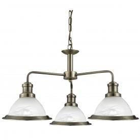 Art Deco Ceiling Lights - Searchlight Bistro Antique Brass Finish 3 Light Pendant Ceiling Light 1593-3AB