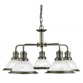 Art Deco Ceiling Lights - Searchlight Bistro Antique Brass Finish 5 Light Pendant Ceiling Light 1595-5AB