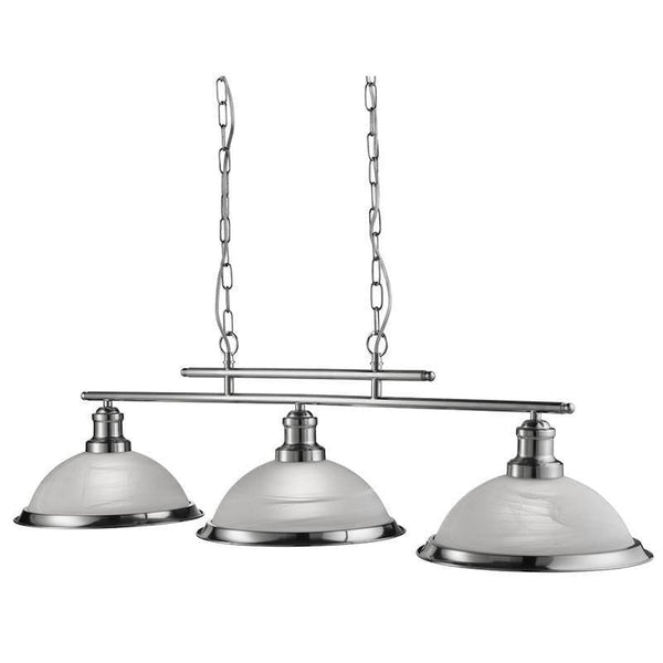 Art Deco Ceiling Lights - Searchlight Bistro Satin Silver Finish 3 Light Ceiling Bar Light 2683-3SS