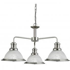 Art Deco Ceiling Lights - Searchlight Bistro Satin Silver Finish 3 Light Pendant Ceiling Light 1593-3SS