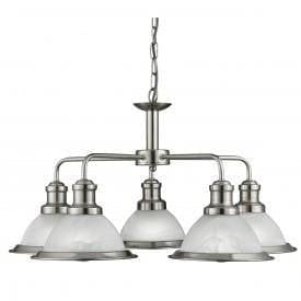 Art Deco Ceiling Lights - Searchlight Bistro Satin Silver Finish 5 Light Pendant Ceiling Light 1595-5SS
