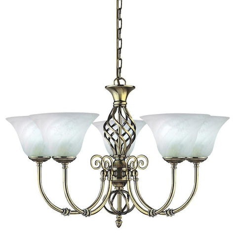 Art Deco Ceiling Lights - Searchlight Cameroon  Antique Brass Finish And Marble Glass 5 Light Pendant Ceiling Light 975.5