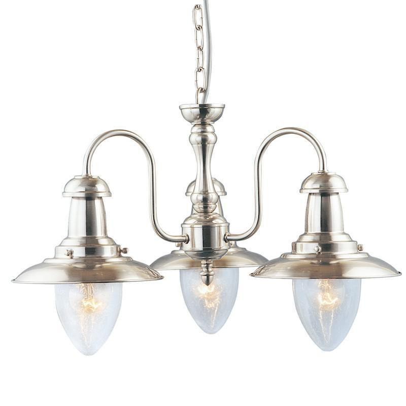 Art Deco Ceiling Lights - Searchlight Fisherman Satin Silver Finish And Seeded Glass 3 Light Pendant Ceiling Light