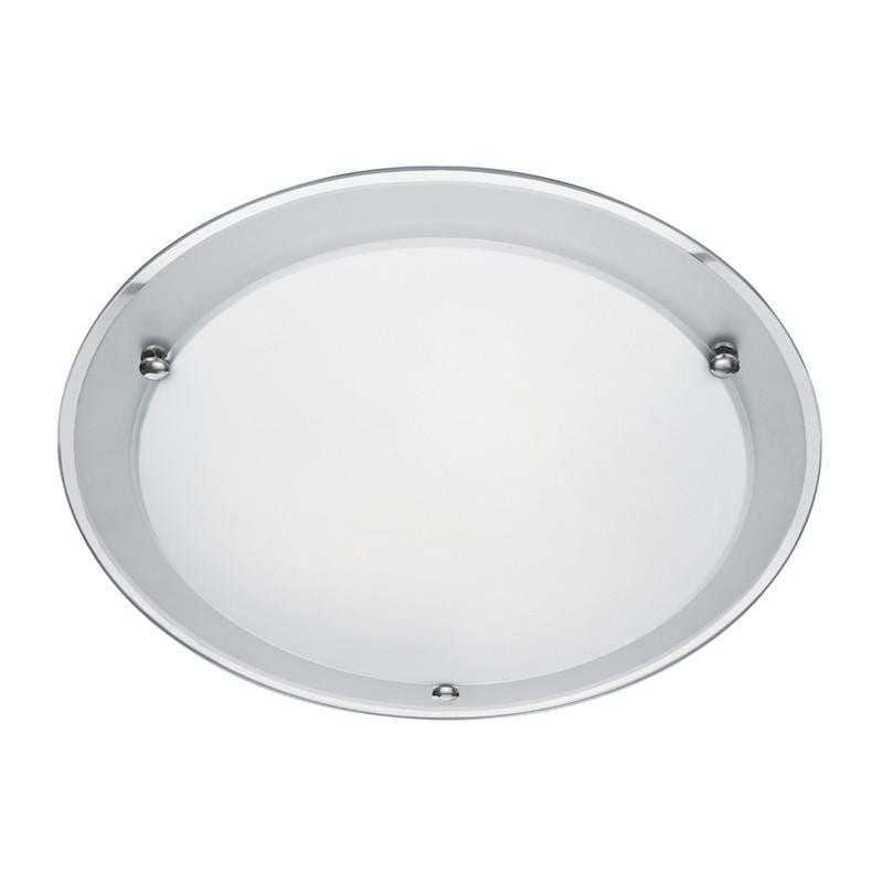 Art Deco Ceiling Lights - Searchlight Mirror Glass And Acid Glass Flush Ceiling Light