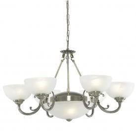 Art Deco Ceiling Lights - Searchlight Windsor Antique Brass Finish 8 Pendant Ceiling Light