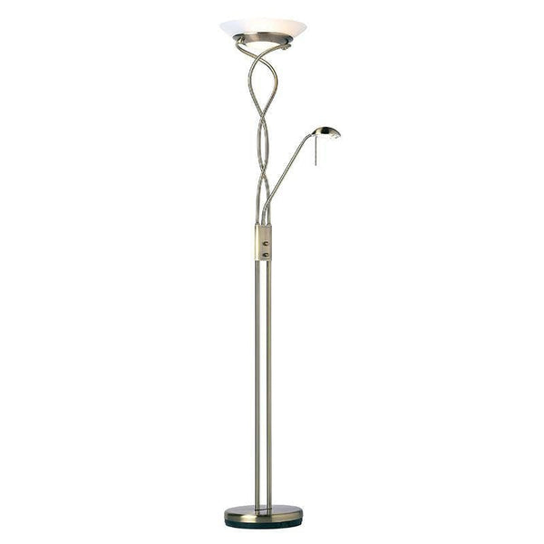 Art Deco Floor Lamps - Monaco Antique Nickel Finish And Opal Glass Floor Lamp MONACO-AN