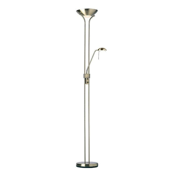 Art Deco Floor Lamps - Rome Antique Nickel Finish And Opal Glass Floor Lamp ROME-AN