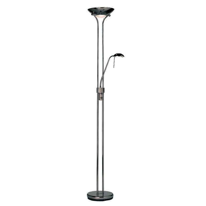 Art Deco Floor Lamps - Rome Black Chrome Finish And Opal Glass Floor Lamp ROME-BC
