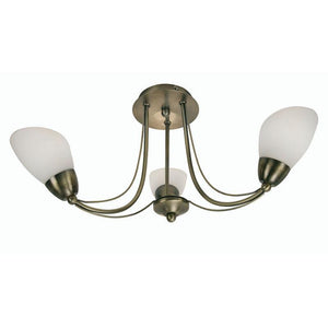 Art Deco Flush & Semi Flush - Altair 3 Light Antique Brass Semi Flush Ceiling Light 8862/3 AB