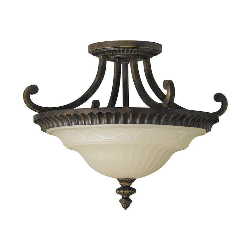 Art Deco Flush & Semi Flush - Feiss Drawing Room Walnut Finish Flush Ceiling Light FE/DRAWINGRM/SFA