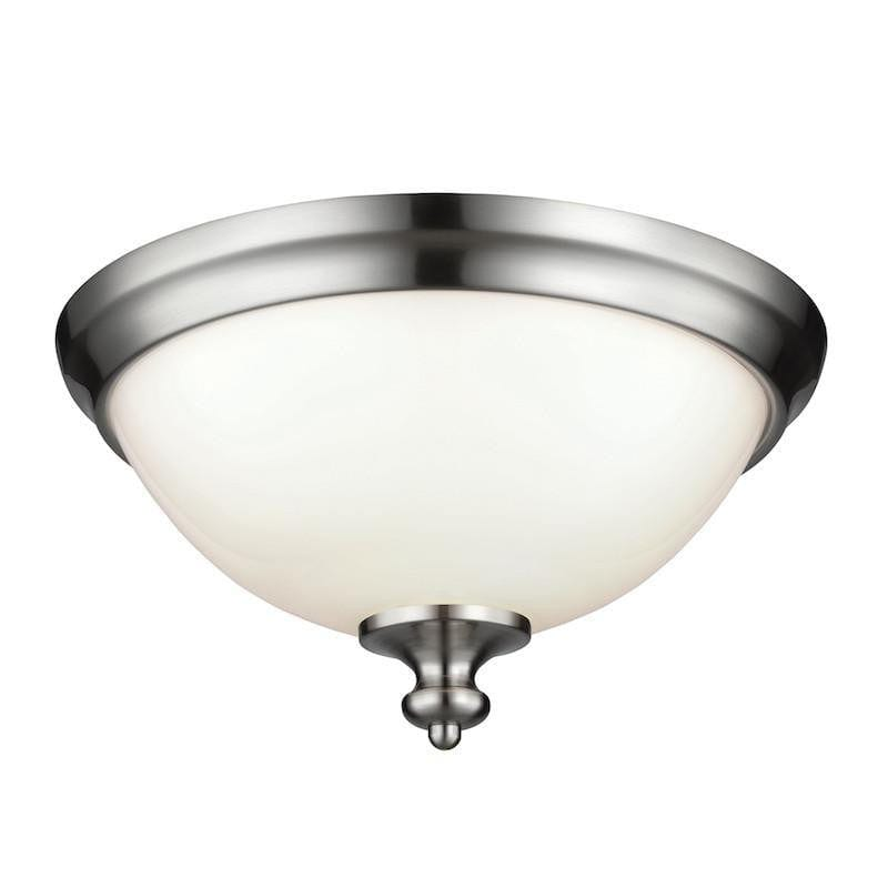Art Deco Flush & Semi Flush - Feiss Parkman Brushed Steel Finish Flush Ceiling Light FE/PARKMAN/F BS