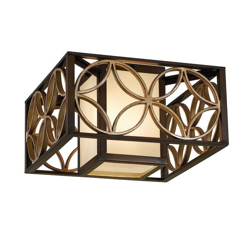 Art Deco Flush & Semi Flush - Feiss Remy Heritage Bronze And Parisienne Gold Finish Flush Ceiling Light FE/REMY/F