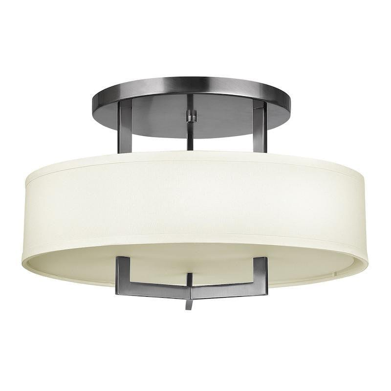 Art Deco Flush & Semi Flush - Hinkley Hampton Antique Nickel Finish Semi Flush Ceiling Light HK/HAMPTON/SF