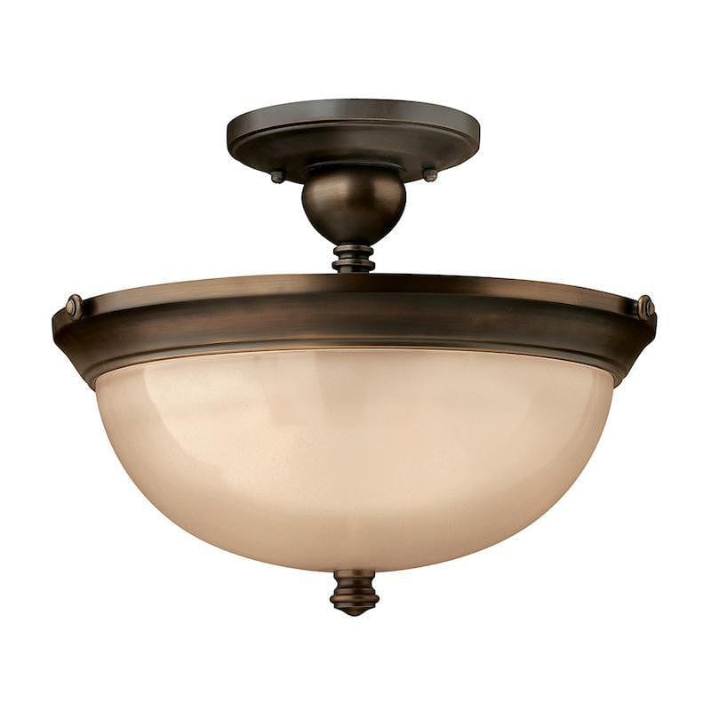 Art Deco Flush & Semi Flush - Hinkley Mayflower Olde Bronze Finish Semi Flush Ceiling Light HK/MAYFLOWER/SF