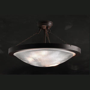 Art Deco Flush & Semi Flush - Kansa Prismatic Dish Semi-Flush Ceiling Light 432826