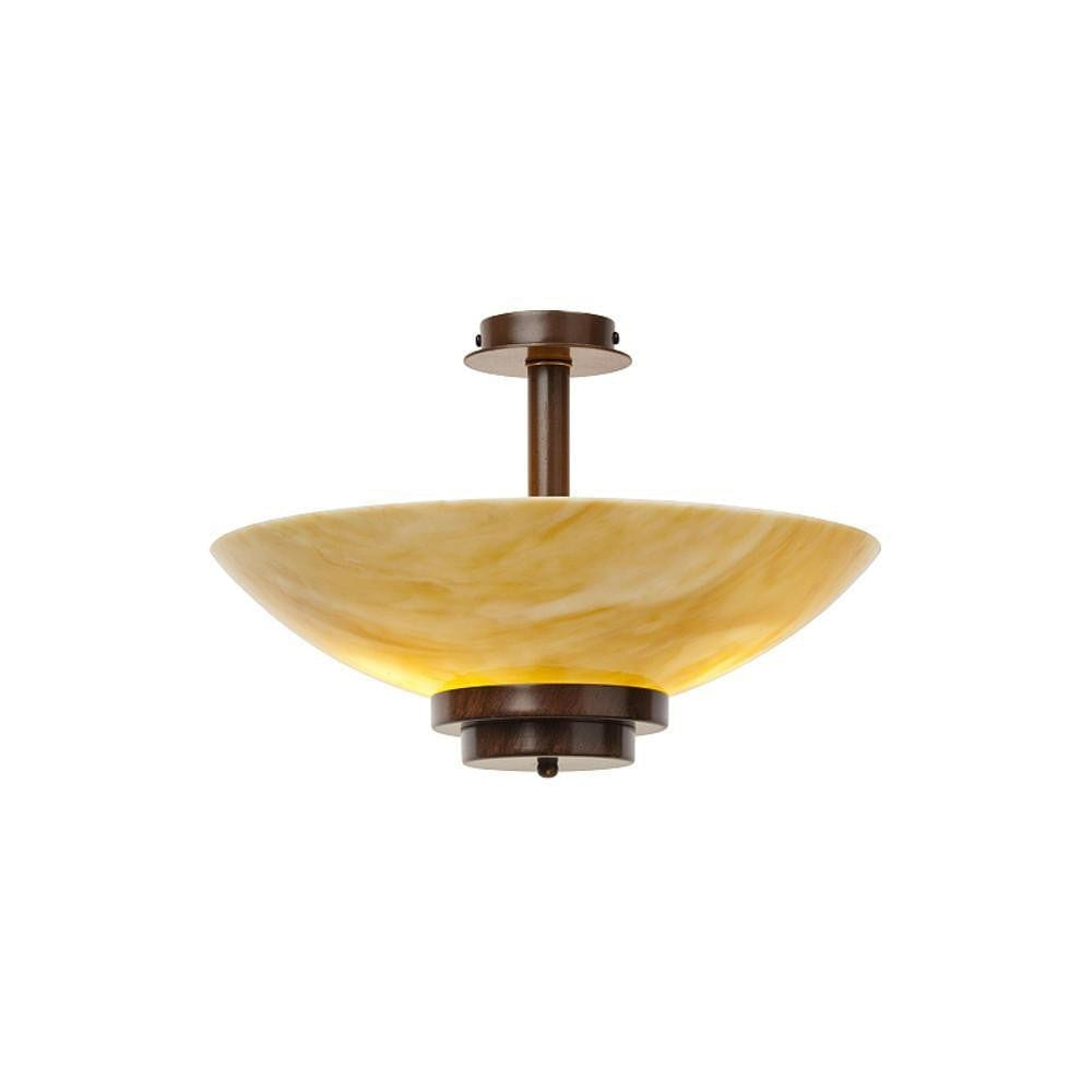 Art Deco Flush & Semi Flush - Kansa Stratton Antique Bronze Semi Flush Ceiling Light STRATTON28