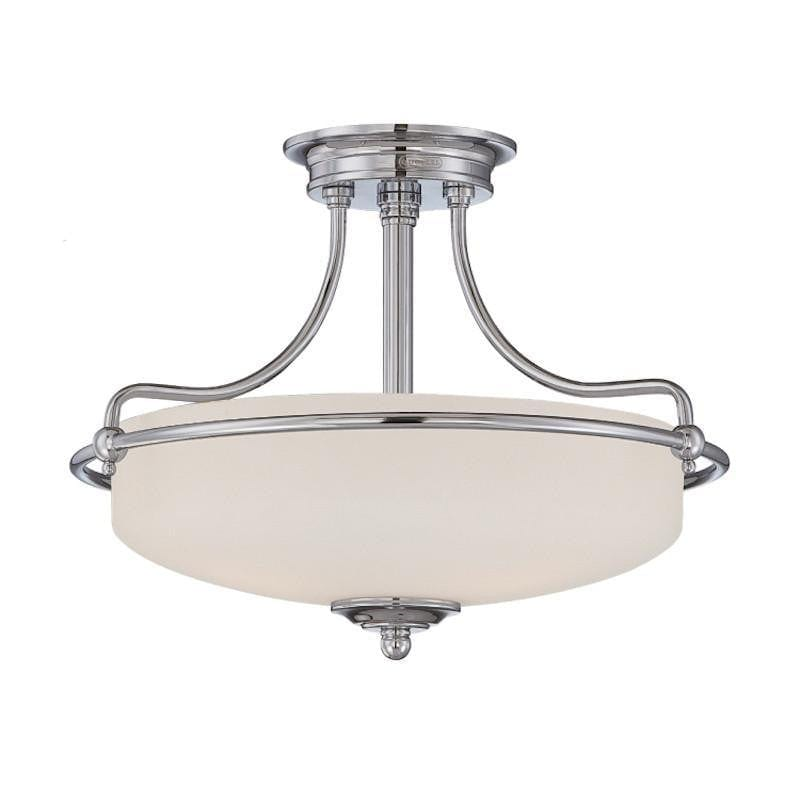 Art Deco Flush & Semi Flush - Quoizel Griffin Polished Chrome Finish 3 Light Semi Flush Ceiling Light QZ/GRIFFIN/SFS C