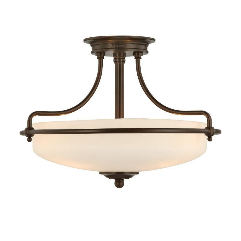 Art Deco Flush & Semi Flush - Quoizel Griffin Polished Palladian Bronze Finish 3 Light Semi Flush Ceiling Light QZ/GRIFFIN/SFSPN