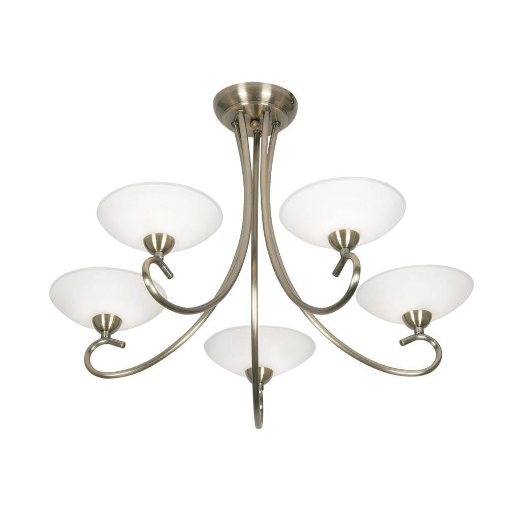 Art Deco Flush & Semi Flush - Satyana 5 Arm Art Deco Ceiling Light - Antique Brass Finish 5666/5 AB