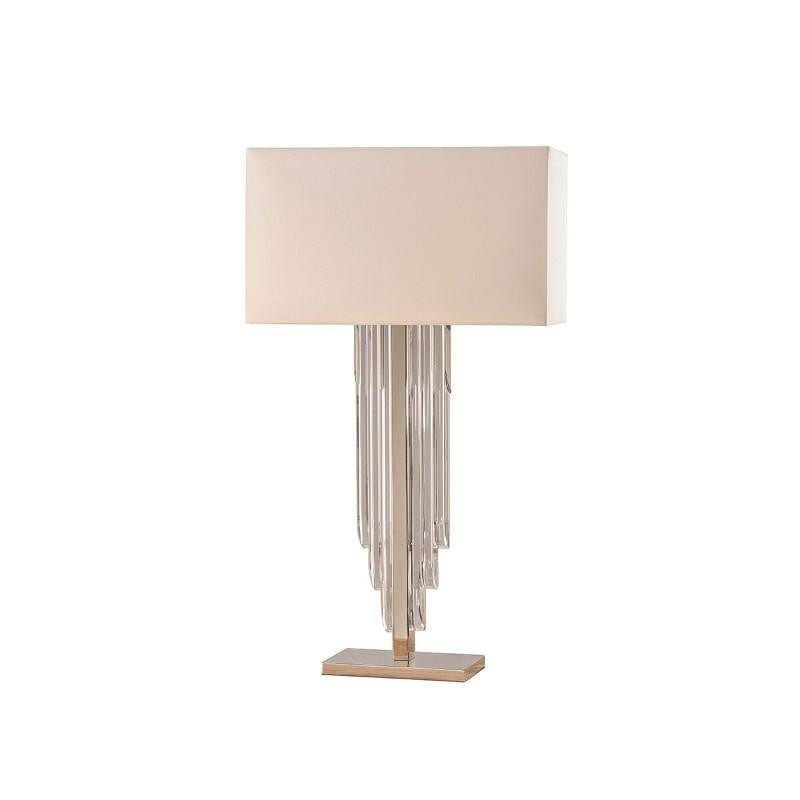 Art Deco Table Lamp - Crystal Cascade Table Lamp With Faux Silk Off White Shade 63475