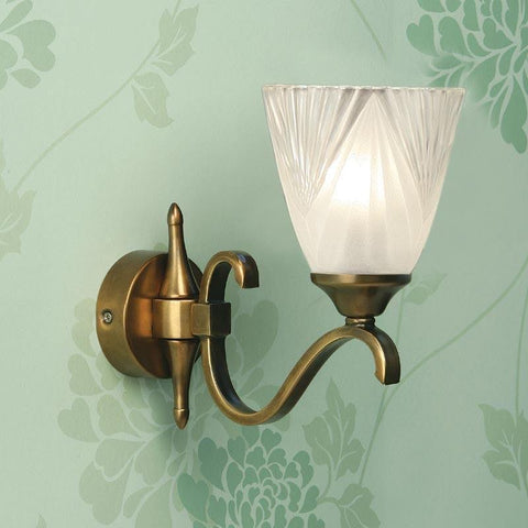 Art Deco Wall Light - Columbia Brass Finish Single Wall Light 63452