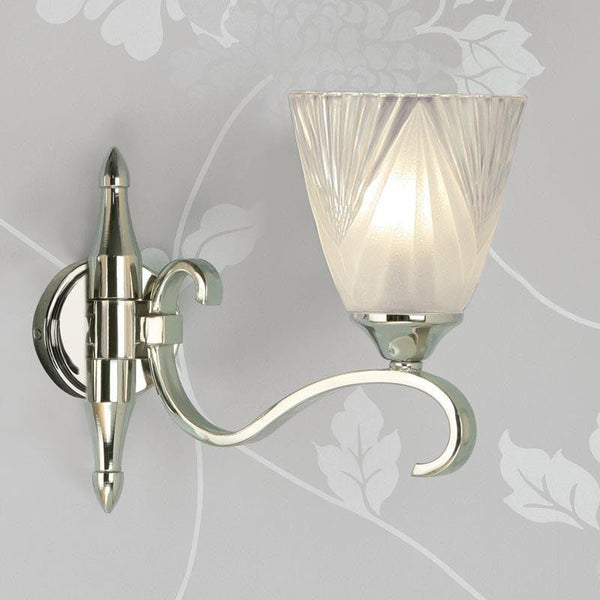 Art Deco Wall Light - Columbia Polished Nickel Finish Single Wall Light 63456