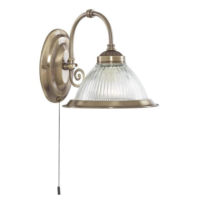 Art Deco Wall Light - Searchlight American Diner Antique Brass Finish And Clear Ribbed Glass Wall Light 9341-1