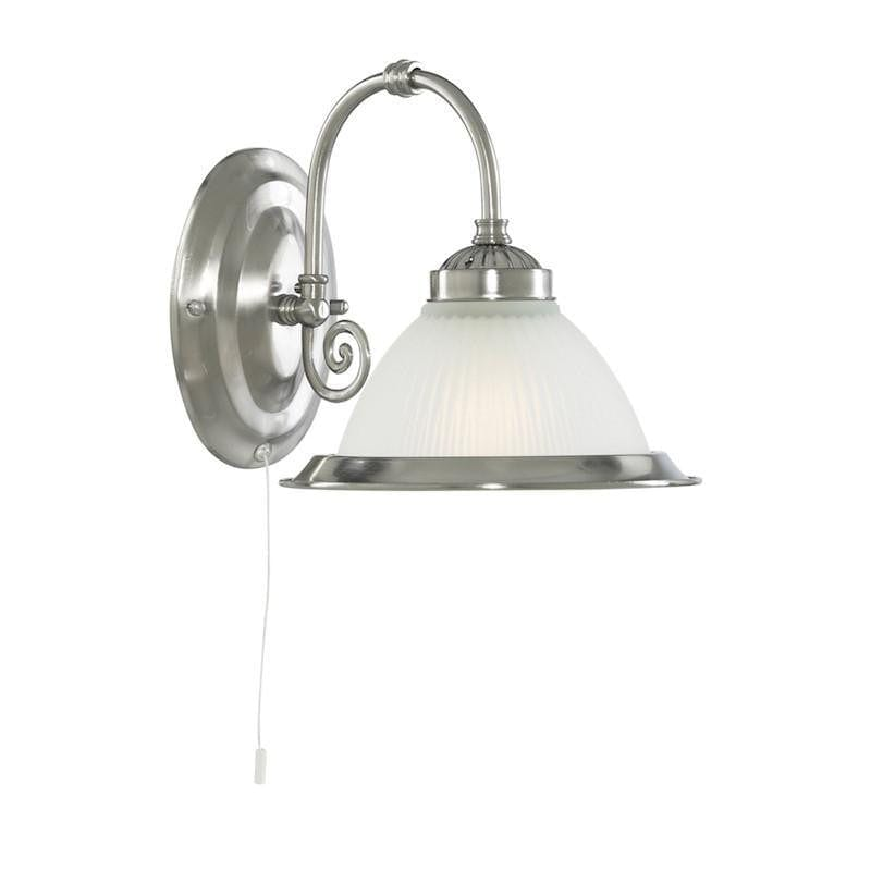 Art Deco Wall Light - Searchlight American Diner Satin Silver Finish And Acid Ribbed Glass Wall Light 1041-1
