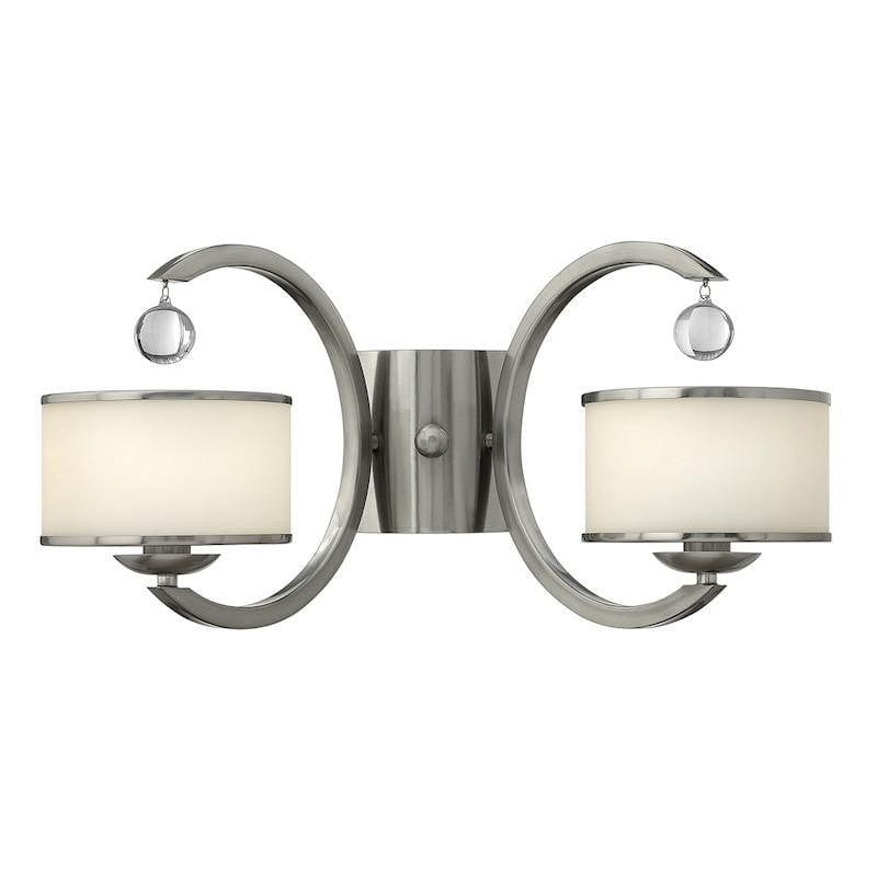 Art Deco Wall Lights - Hinkley Monaco Brushed Nickel Finish Twin Arm Wall Light HK/MONACO2