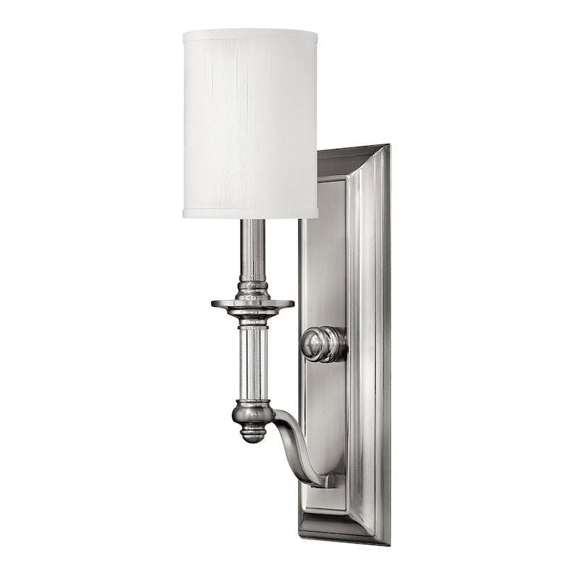 Art Deco Wall Lights - Hinkley Sussex Brushed Nickel Finish Single Arm Wall Light HK/SUSSEX1