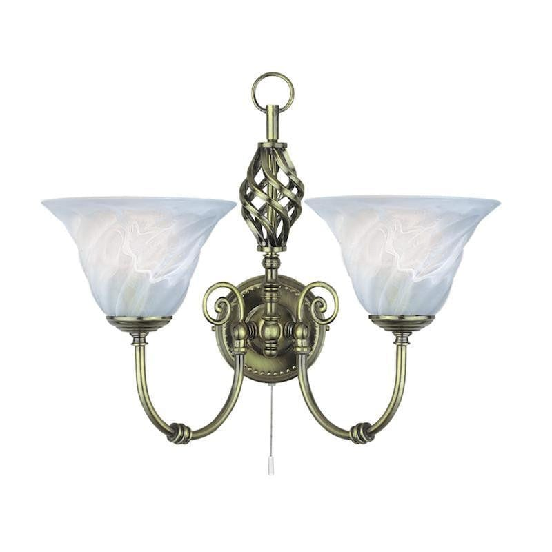 Art Deco Wall Lights - Searchlight Cameroon  Antique Brass Finish And Marble Glass Twin Arm Wall Light 972.2