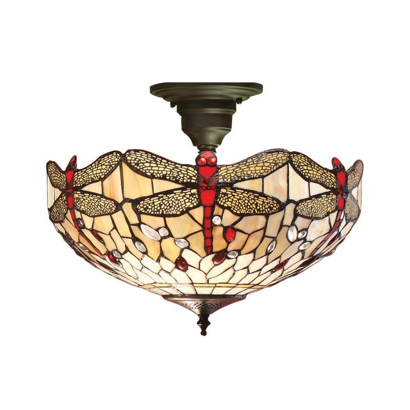 Beige Dragonfly Semi Flush Tiffany Ceiling Light by Interiors 1900