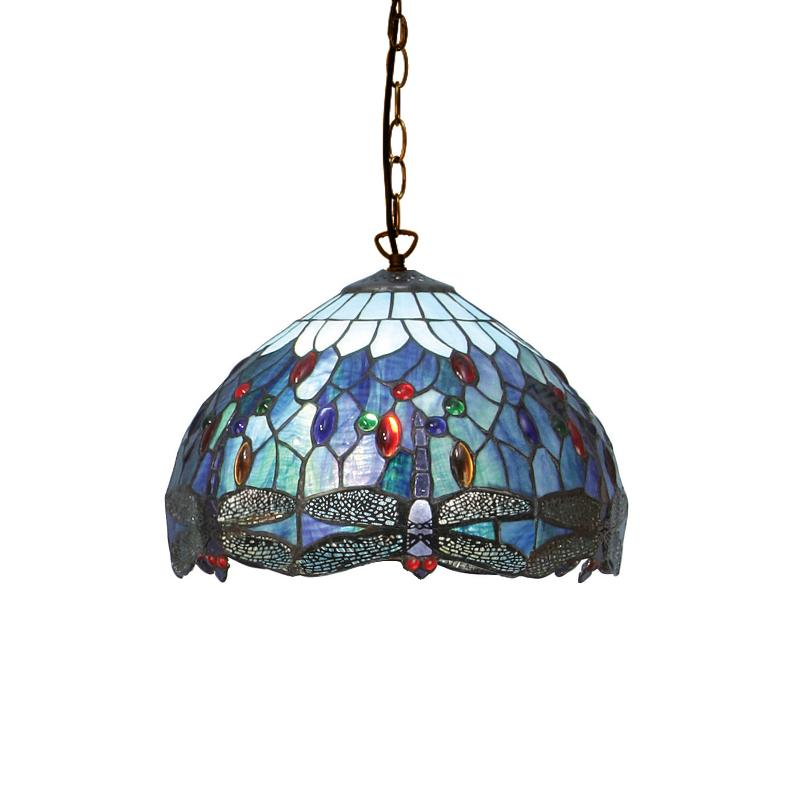 Blue Dragonfly Small Tiffany Ceiling Light by Interiors 1900