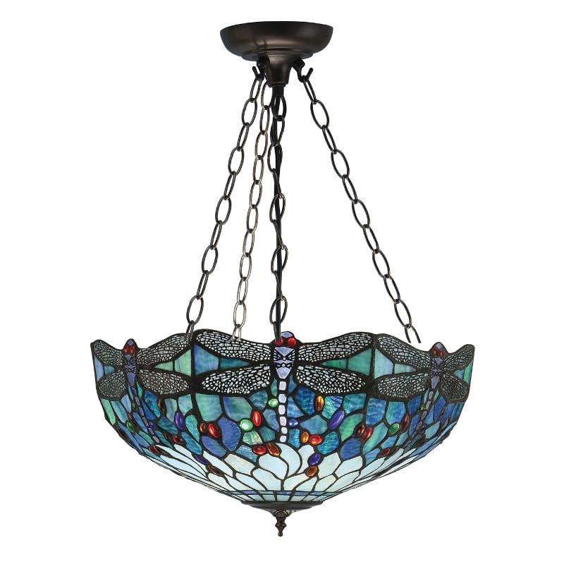 Blue Dragonfly Large Tiffany Inverted Ceiling Light by Interiors 1900