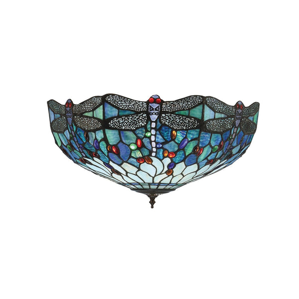 Blue Dragonfly Large Tiffany Flush Ceiling Light by Interiors 1900
