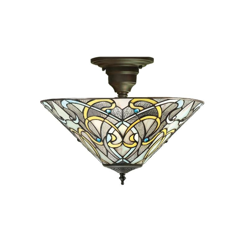 Dauphine Semi Flush Tiffany Ceiling Light by Interiors 1900