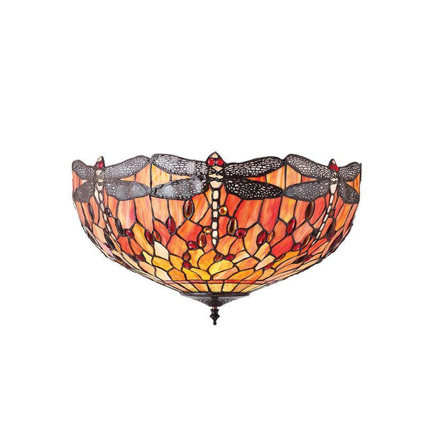 Flame Dragonfly Large Tiffany Flush Ceiling Light