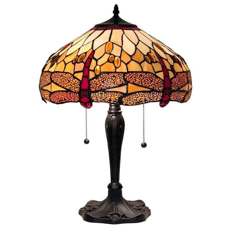 Large Tiffany Lamps - Golden Dragonfly Large Tiffany Lamp