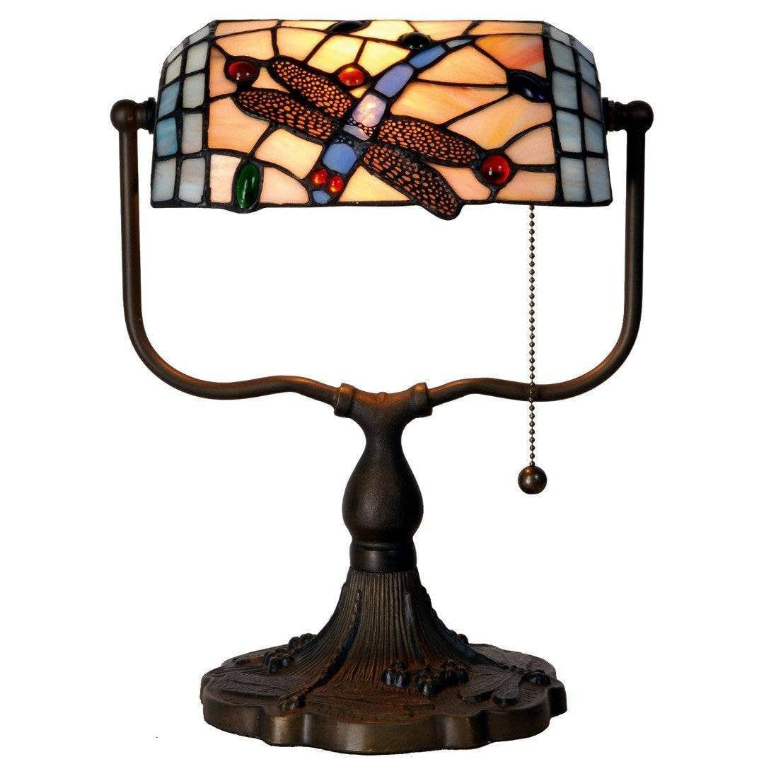 Medium Tiffany Lamps - Dragonfly Tiffany Bankers Lamp