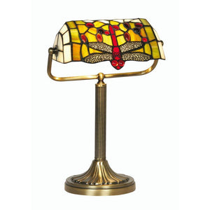 Medium Tiffany Lamps - Oaks Tiffany Dragonfly Bankers Lamp OT 1485/BL TL