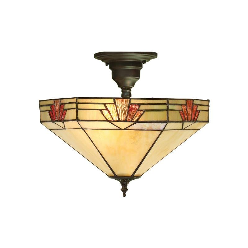 Nevada Semi Flush Tiffany Ceiling Light by Interiors 1900