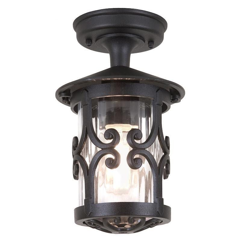 Elstead Hereford Black Finish Outdoor Flush Lantern