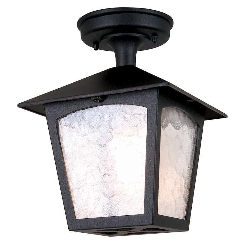 Elstead York Black Finish Outdoor Flush Lantern