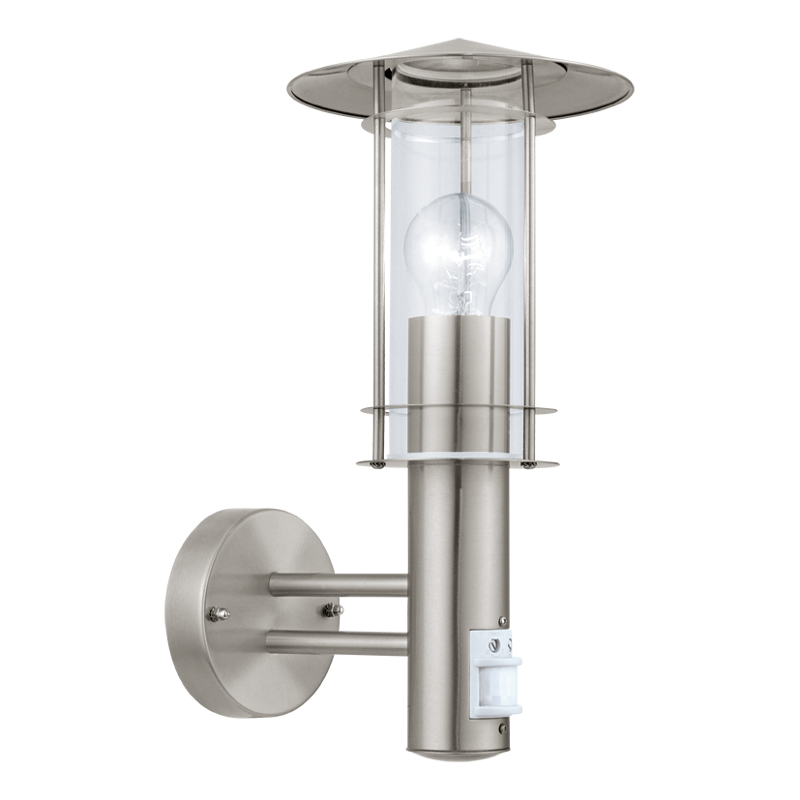 Eglo Lisio Stainless Steel Finish Outdoor PIR Wall Light 30185 by Eglo Outdoor Lighting
