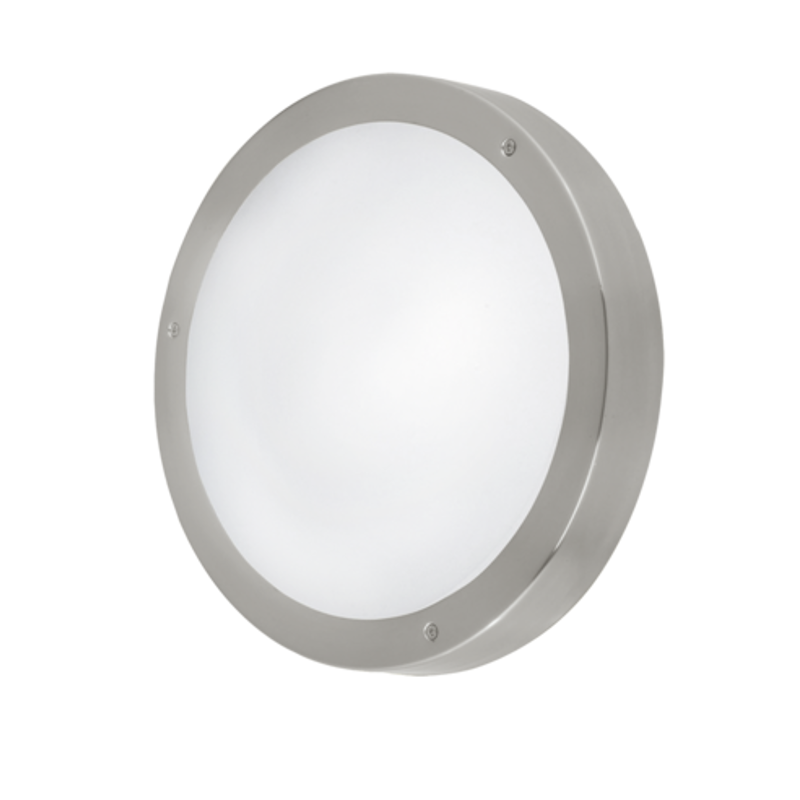 Eglo Vento 2 Stainless Steel Finish Outdoor Flush Ceiling/Wall Light 96365 by Eglo Outdoor Lighting