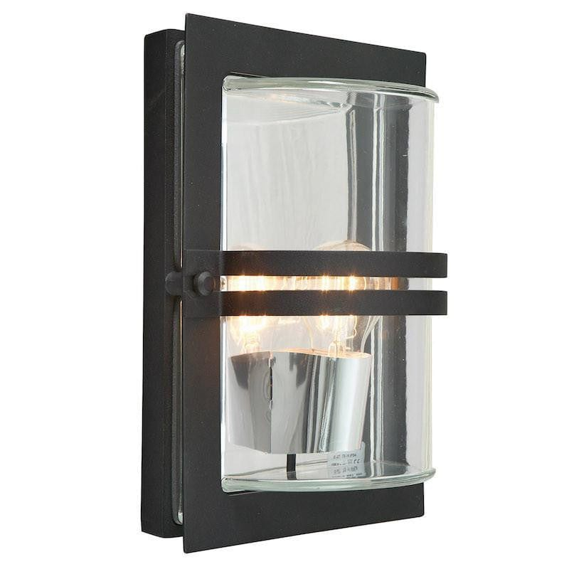 Elstead Basel Black And Clear Glass Outdoor Wall Light
