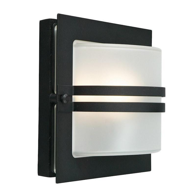 Elstead Bern Black And Frosted Glass Outdoor Wall Light