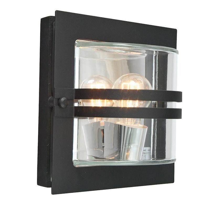 Elstead Bern Black And Clear Glass Outdoor Wall Light