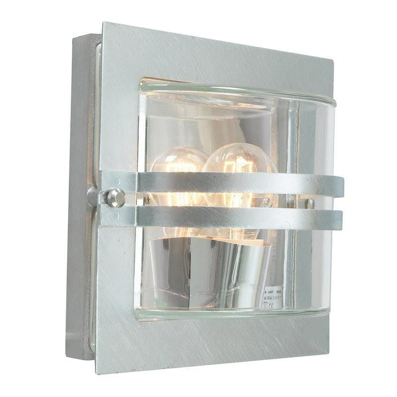 Elstead Bern Galvanised Steel And Clear Glass Outdoor Wall Light