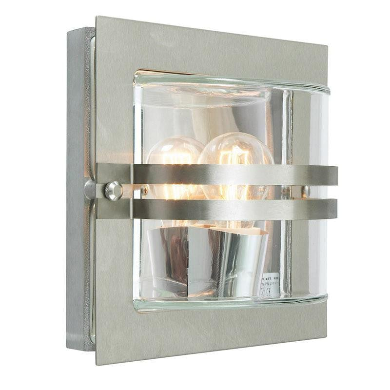 Elstead Bern Stainless Steel And Clear Glass Outdoor Wall Light